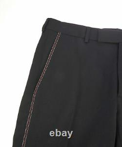 $1,150 DIOR HOMME -Black Red Contrast Stitch Runway Flat Front Dress Pants 32W