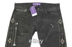 $1,495 Ralph Lauren Purple Label Black Moto Studded Jewel Slim Denim Jeans NWT