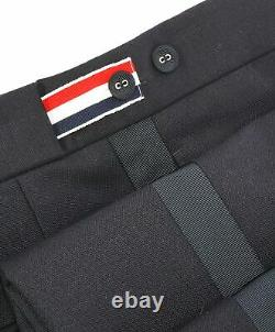 $1,580 THOM BROWNE Black Wool & Mohair Side Stripe LOGO Backstrap Sz 1 32W