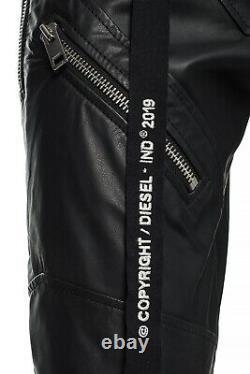 $1000 Designer Rare DIESEL Men's Slim Fit Zip Utility Leather Pants Trousers 32