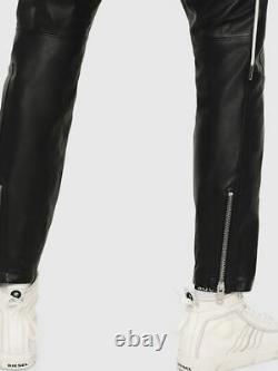 $1098 Designer Rare DIESEL Men's Slim Fit Zip Biker Leather Pants Trousers 32