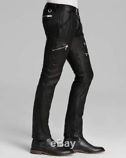 $1200 Authentic Rare DIESEL Men's Slim Fit Zipper Detail Leather Pants Trousers