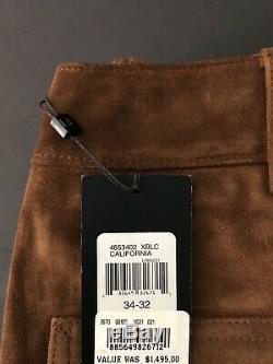 $1495 Ralph Lauren Black Label rrl Hunting Carpenter Leather JEAN Pant 34 X32