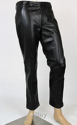 $3300 New Authentic Gucci Mens Black Leather Pants 359505 1000