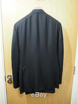 £3395 Tom Ford 3 Pieces Black Suits Wool Jacket Trouser Coat Shirt IT56 US46