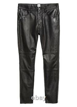 $350 Men's H&M STUDIO AW17 Leather Pants 31 Fit Trousers Biker Style Soft Black