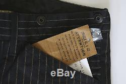 $490 RRL DOUBLE RL BUCKLEBACK TROUSER PANTS BLACK WABASH PINSTRIPE SZ 32/32