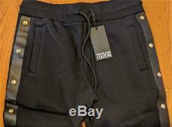$495 Mens Versace Jeans Couture Studded Fleece Jogger Pants Black Medium