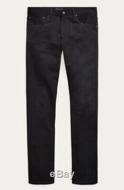 $495 Ralph Lauren Purple Label Mens Straight Fit Black Stretch Denim Jeans Pants