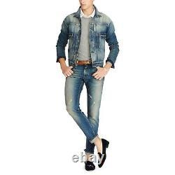 $595 Ralph Lauren Purple Label Mens Slim Fit Washed Vintage Denim Jeans Pants 34