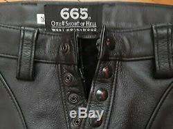 665 BLACK LEATHER PANTS 29 SLIM SKINNY fetish mr s folsom st diesel
