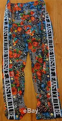 $675 Mens Versace Jeans Couture Optical Flower Logo Print Jogger Pants Large