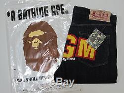 A BATHING APE Men's 1999 TYPE-02 SHARK PANTS BLACK DENIM / INDIGO 2 Colors New