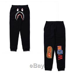 A BATHING APE Men's SHARK SLIM SWEAT PANTS 3colors Black/Gray/Navy S-XXL New