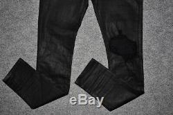 AMIRI Broken Jean Metallic Stretch Skinny Denim Pants Black Men's 32