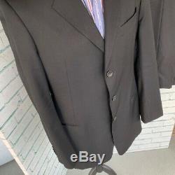 ARMANI COLLEZIONI Men's Black Suit 52 Reg Pure Wool / Trousers W36 L32
