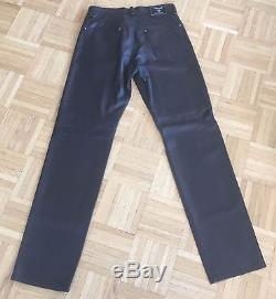AUTHENTIC VERSACE Men's Leather Jeans with Silver Versace Hardware STUNNING