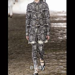 Alexander McQueen Black Ivory Skull Lace Print Wool Silk Trousers Pants IT48