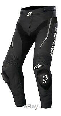 Alpinestars CE Approved Leather Track Race Motorbike Motorcycle Pants Black