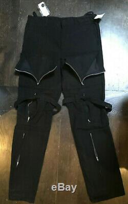 Archival Helmut Lang Men Black Moleskin Bondage Strap Zipper Pant 50 Never Worn