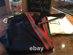 Authentic GUCCI BLACK RED/GREEN strip SWEATPANT size L MADE in ITALY
