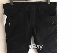 BALMAIN Black Velvet White Tape Biker Trousers MADE IN JAPAN Size 34 RRP £760