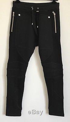 BALMAIN Black zipped cotton jogging Sweatpants trousers Size M RRP £470 SS18