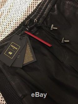 BALMAIN HM Men's Black Leather Motorcycle Pants Large