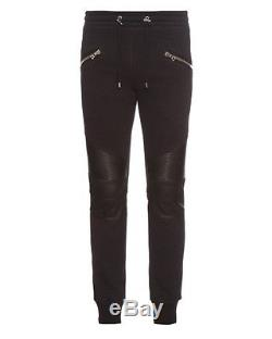 BALMAIN Men's Black Biker Leather and Cotton-Jersey Sweatpants Size S
