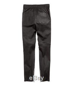 BALMAIN X H&M Men's Black Leather Quilted Elasticated Waist Joggers Pants M