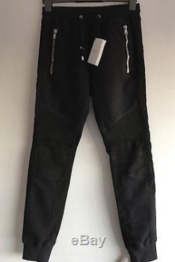 BALMAIN biker suede-panelled jogging trousers Size M RRP £1100