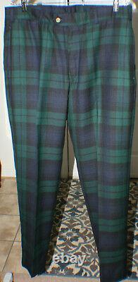 BILLS KHAKIS Tartan Plaid Pants, Black Watch, 100% Wool, 36 X 32, M2, NWOT