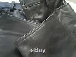 BLACK HEAVY LEATHER PANTS 38 × 32 motorcycle biker folsom st mr s gay interest