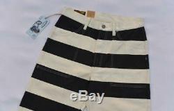 BOB DONG 2019 New Prisoner Striped Motorcycle Pants Vintage 16oz Biker Trousers