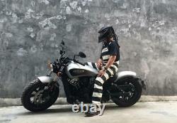 BOB DONG Prisoner Striped Overalls Vintage Men Motorcycle Biker Racing Trousers