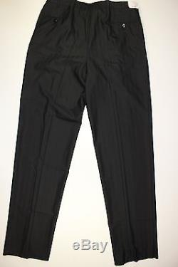 Brioni Black Stripe Wool Two Pleat Pants-size 38-made In Italy