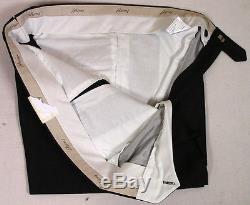 BRIONI PANTS CHARCOAL BLACK SUPER 130's WOOL/SILK HANDMADE SLACKS 40 56 NEW