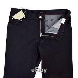 BRIONI Roccaraso Classic Five Pocket Silk Cotton Black Denim Jeans 38 NWT $695