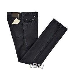 BRIONI Stelvio Bespoke Silk Cotton Classic Fit Black Denim Jeans 32 NWT $695