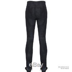 Balmain Fade Wash Black Lambskin Suede Skinny-Fitting Trousers Pants XS W28
