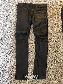 Balmain Paris Black Leather Biker Pants Jeans SIZE 50