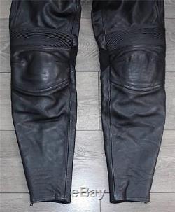 Black Leather VANUCCI Armour Sport Racing Men's Trousers Jeans Size W32 L31