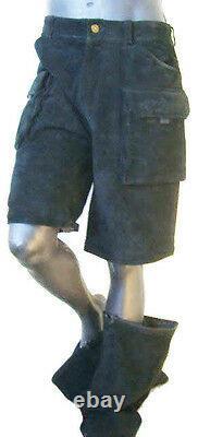 Black SUEDE leather PANT zip off m cargo 34 32 short jean PUNK vtg hip hop