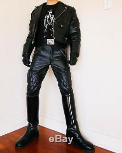 Black leather pants motocycle pants BREECHES NEW leather trousers/ pants black