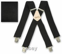Brimarc Heavy Duty Mens Metal Clip Wide Trouser Braces Black