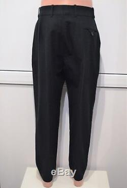 CHRISTOPHE LEMAIRE One-pleated Pants Black Washed Cotton Virgin Wool Trousers