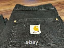 Carhartt W30 L30 Vintage Double Knee Distressed Work Trousers Pants Faded Black