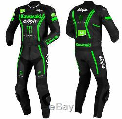 Custom kawasaki Motorcycle Leather Suit MotoGp Motorbike Leather Jacket Trouser
