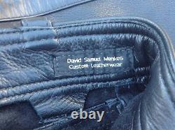 DAVID SAMUEL MENKES BLACK LEATHER PANTS w BLK STRIPE MR S ROB 665