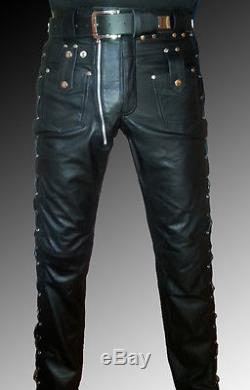 DESIGNER leather pants black mens leather trousers lacing new LEATHER LINING